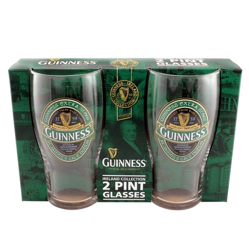 Guinness 2 Pack Of Pint Glasses With Guinness Ireland Label Design