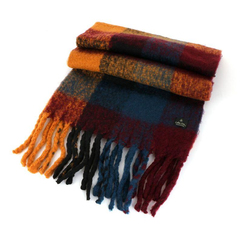 Celtic Ore Orange Blue Dark Red Colour Soft Oversized Wrap Scarf