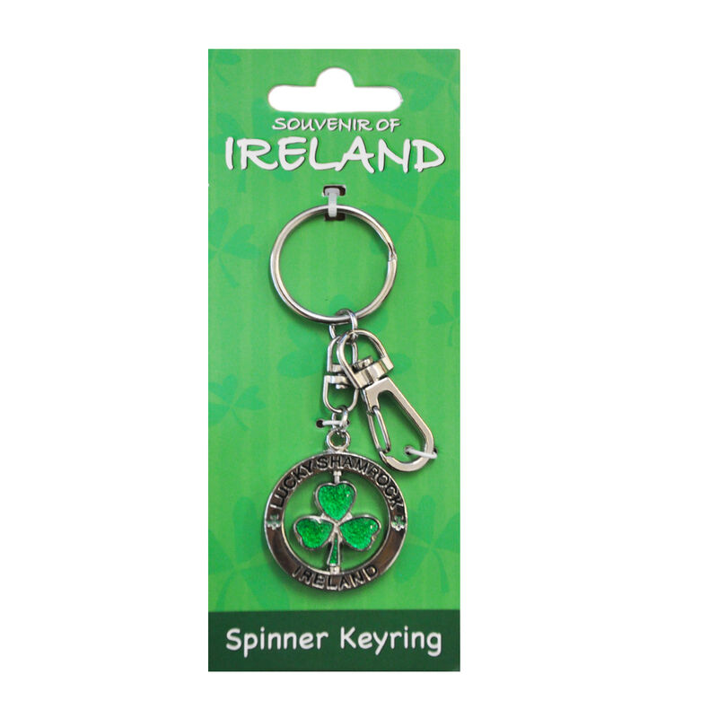 Metal Spinner Keychain With Green Lucky Shamrock