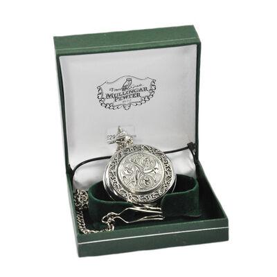 Mullingar Pewter Pocket Watch With Celtic Spiral Design And Border