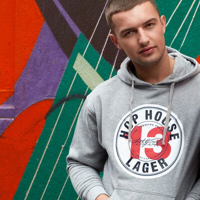 Guinness Pullover Hoodie With Hop House 13 Logo Design Grey Colour