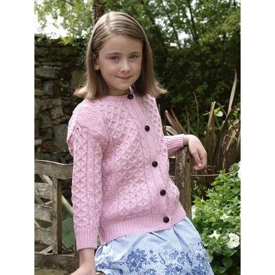 100% Merino Wool Children's Cardigan, Pink Colour