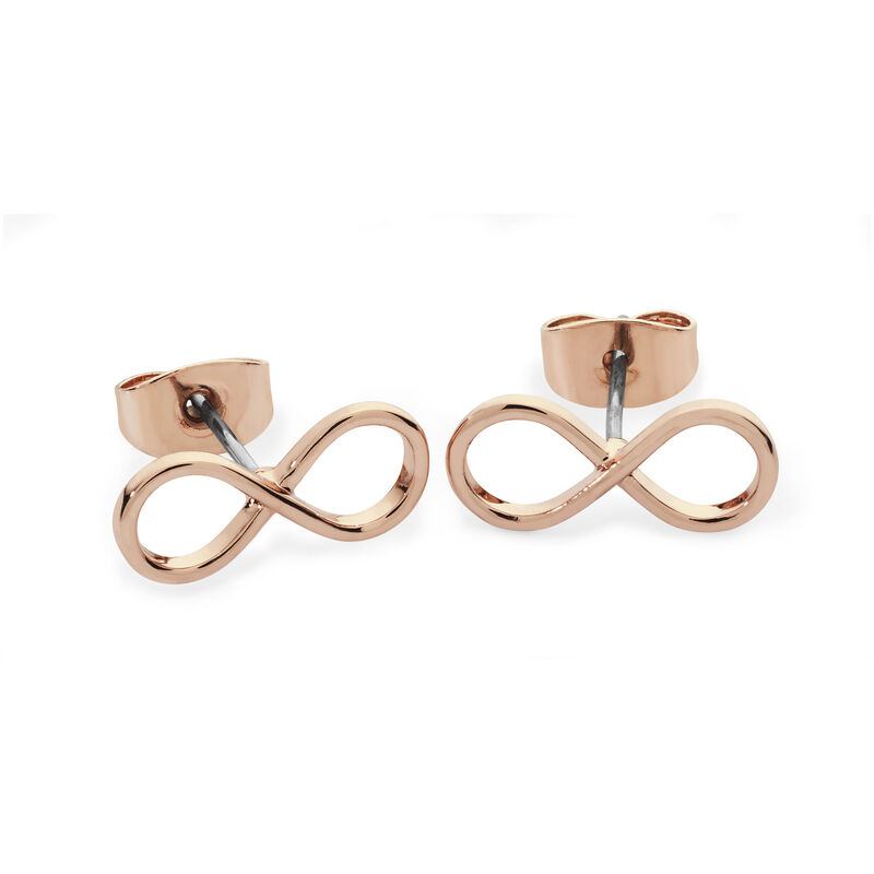 Tipperary Crystal Rose Gold Simple Infinity Knot Stud Earrings