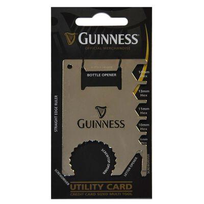 Guinness scheckkartengroßes Multiwerkzeug  silberfarben  mit schwarzem Harfendesign