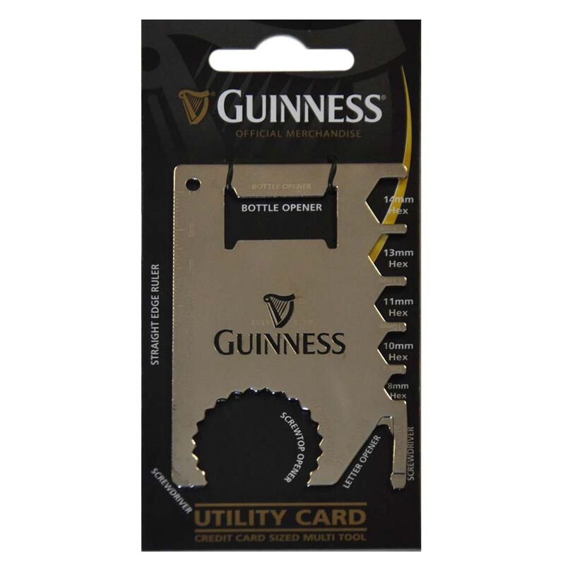 Guinness Credit Card Sized Multi Tool Silver Utility Card With Black Harp Design