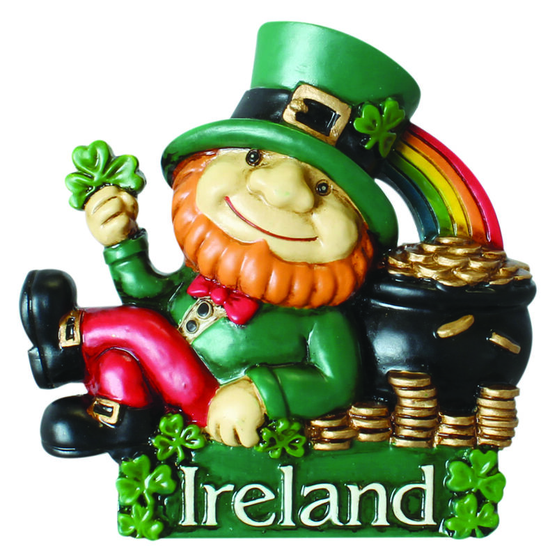 Magnet With Ireland Leprechaun Lying Up Against His Pot Of Gold Under A Rainbow