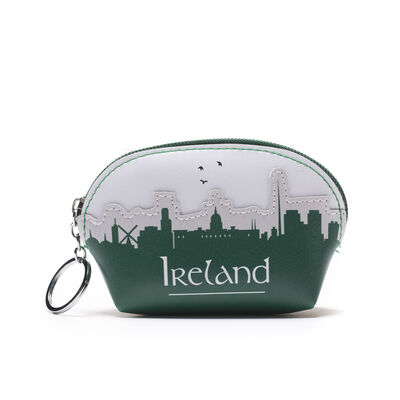 Green and White Leather Ireland Skyline Designed Purse In Clamshell Shape