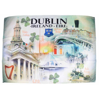 Dublin T-Towel Design with Images of Trinity College  Molly Malone and Ha'Penny Bridge