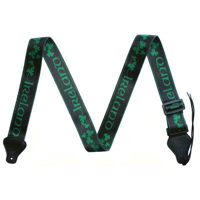 IRELAND Guitar Strap With Green Shamrock Design, Black Colour