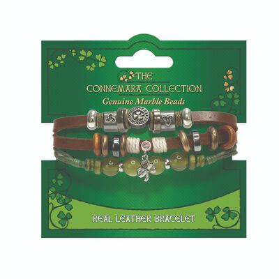The Connemara Collection Genuine Brown Leather Shamrock Bracelet