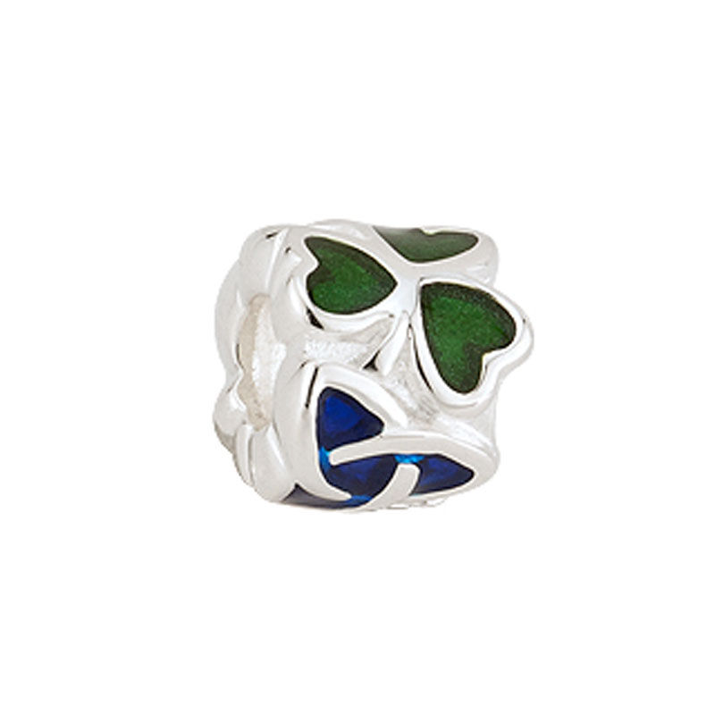 Bead Charm w/ Green Shamrocks and Blue Trinity Knot  Hallmarked Sterling Silver