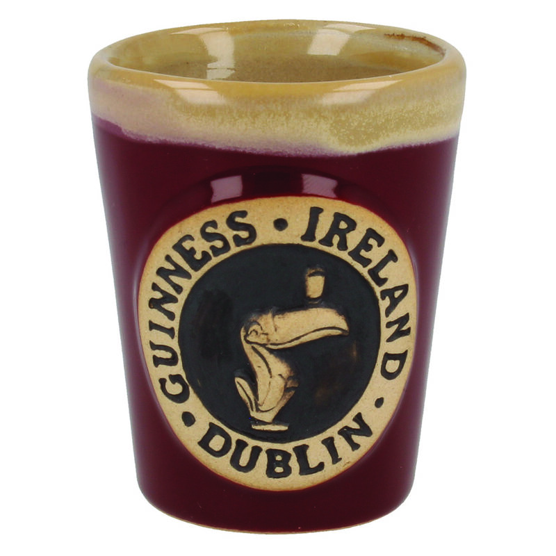 Official Guinness Pottery Shot Glass With Toucan Logo Design