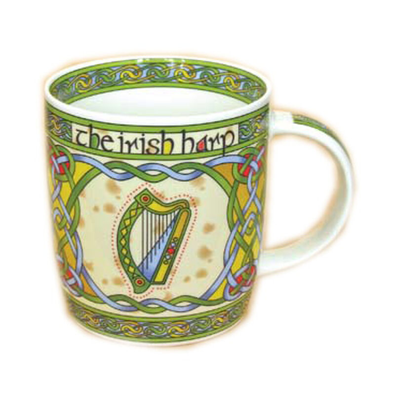 Irish Weave Bone China Mug Collection With Harp Ring Print