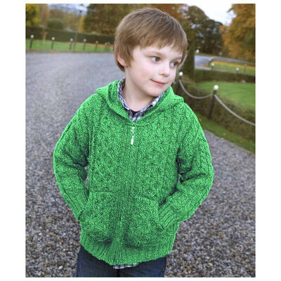 Hooded Zip Cardigan With Pockets, Green Colour