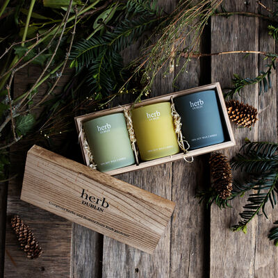 Herb Dublin Winter Walks Set of 3 Candles in Wooden Gift Box