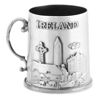 Irish Heritage Mini Metal Ireland Collage Tankard  Silver Colour