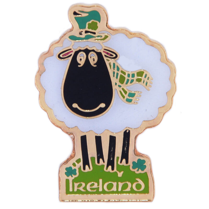 White Metal Irish Sheep Lapel Pin With Ireland Print  2Cm X 1.5Cm