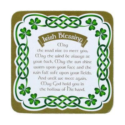 Irish Celtic coaster With An Irish Blessing And Shamrock Design
