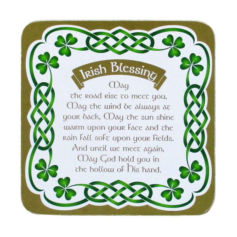 Irish Celtic coaster With An Irish Blessing And Shamrock Design