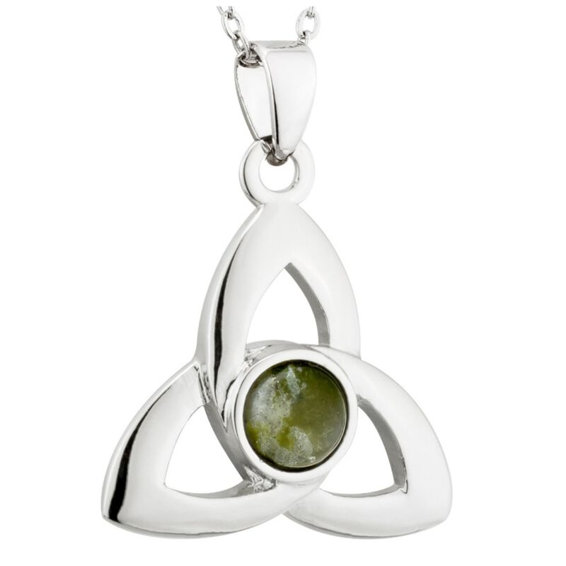 Rhodium Plated Connemara Marble Trinity Knot Designed Pendant