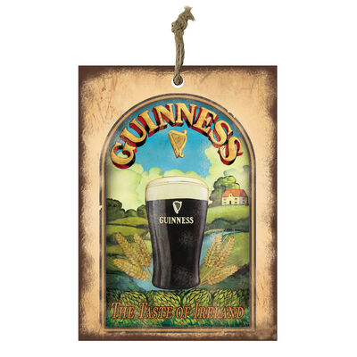 Official Guinness Mini Metal Bar Sign With Pint Glass Design