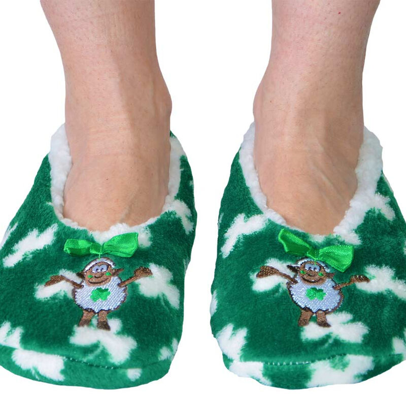 Seamus The Sheep Fleece Lined Slippers With White Shamrock Design