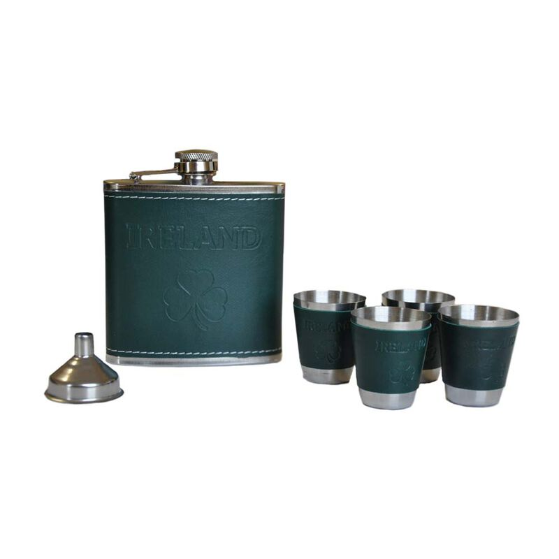 6OZ Hip Flask set With Shamrock Ireland Design With Dark Green Leather