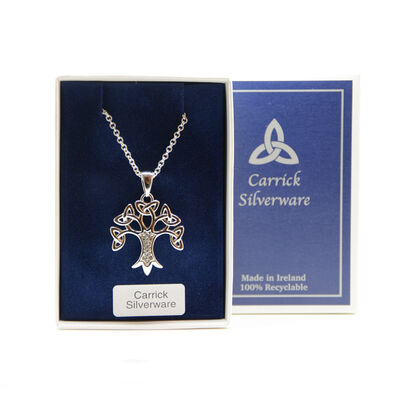 Silver Plated Carrick Silverware Celtic Tree of Life Pendant With Cubic Zirconia