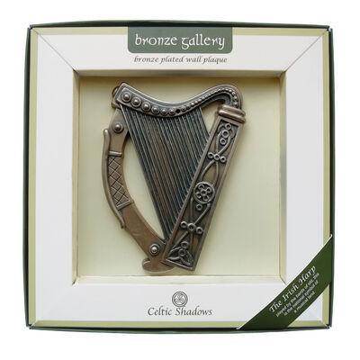 Bronzierte Wandtafel mit irischer Harfe  16 x 13 cm