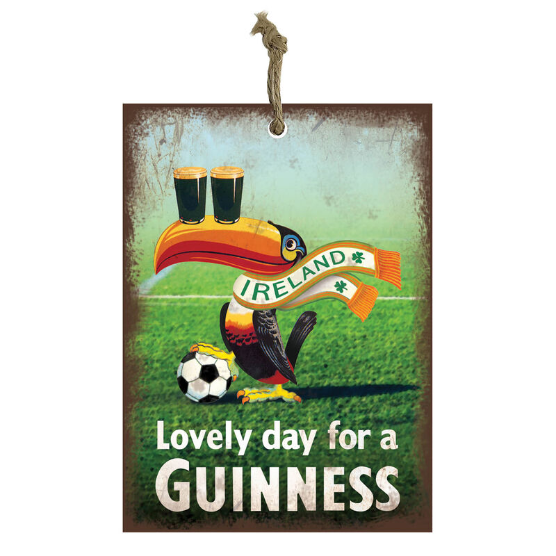 Official Guinness Mini Metal Bar Sign With Football Toucan Design