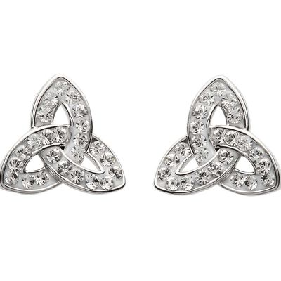 Platinum Plated Trinity Knot Stud Earrings With Clear Swarovski Crystals