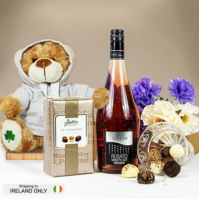 Pink Prosecco, Chocolates & Teddy Bear Gift Set (Ireland Only)
