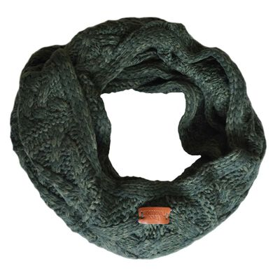 Aran Traditions Knitted Style Cable Design Snood  Dark Green Colour