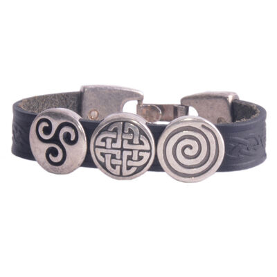 Lee River Aoife Celtic Cuff With 3 Charms  Black Colour