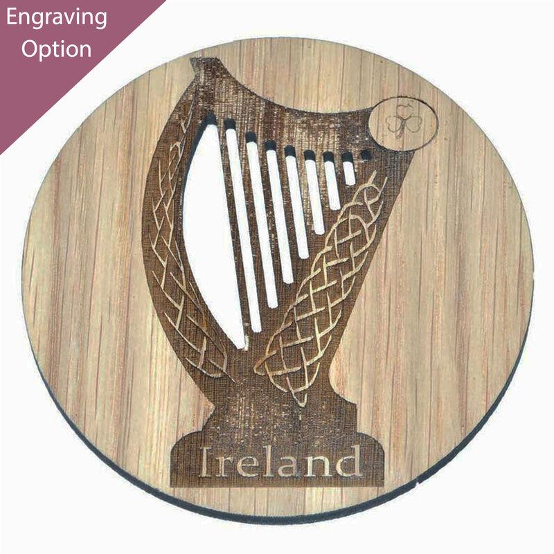 Irish Wooden Designed Coaster With Celtic Ireland Harp Design