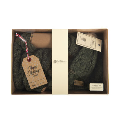 Aran Traditions Gift Set - Tammy Hat and Snood, Dark Green Colour