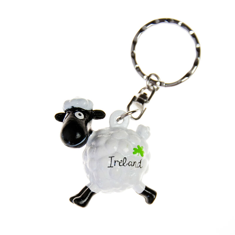 Pvc Keychain With White Jumping Sheep