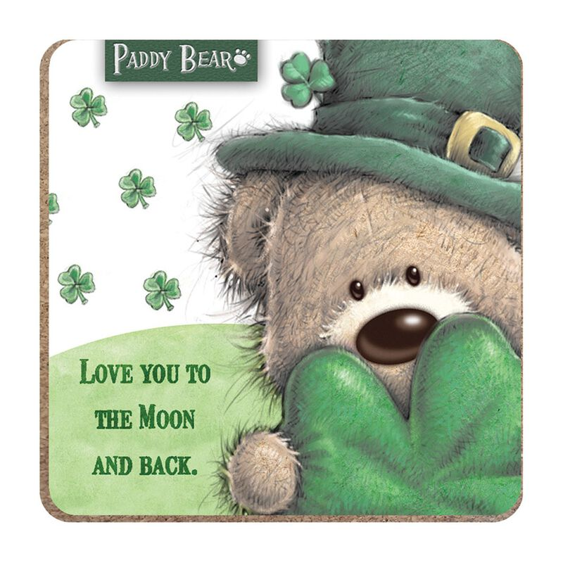 Paddy Bear Irish Designed Coaster 'Love You To The Moon And Back' Text