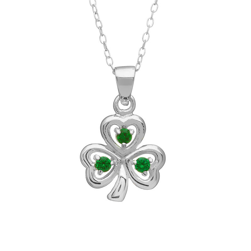 Hallmarked Sterling Silver Shamrock Pendant With Green Cubic Zirconia