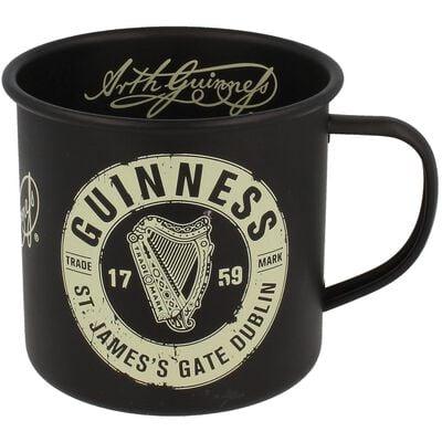 Guinness Enamel Mug With St' James Gate Label Black Design
