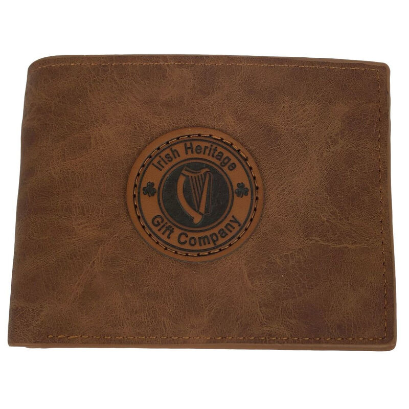Irish Heritage Gift Company Leather Wallet In Brown With Harp Seal Design