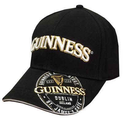 Guinness Extra Stout Logo Design Baseball Cap White And Gold Text Black Colour