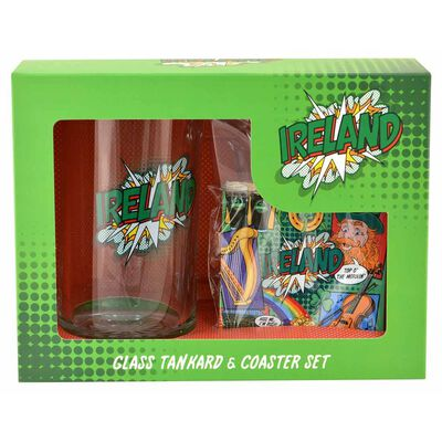 Ireland Pop Art Designed Glass Tankard Set Which Includes Coaster