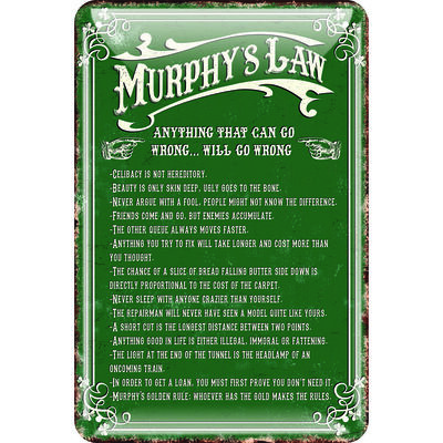 Murphy's Law Metal Sign 'Anything That Can Go Wrong.. Will Go Wrong'  Green Colour