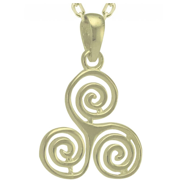 Hallmarked Sterling Silver Triskele Style Designed Pendant On A Chain