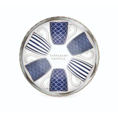Tipperary Crystal Blue Pattern China Mug Collection – Set Of 6