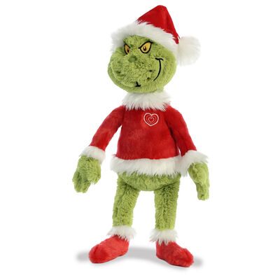 Christmas Grinch Soft Toy Wearing Red Santa Claus Hat & Outfit