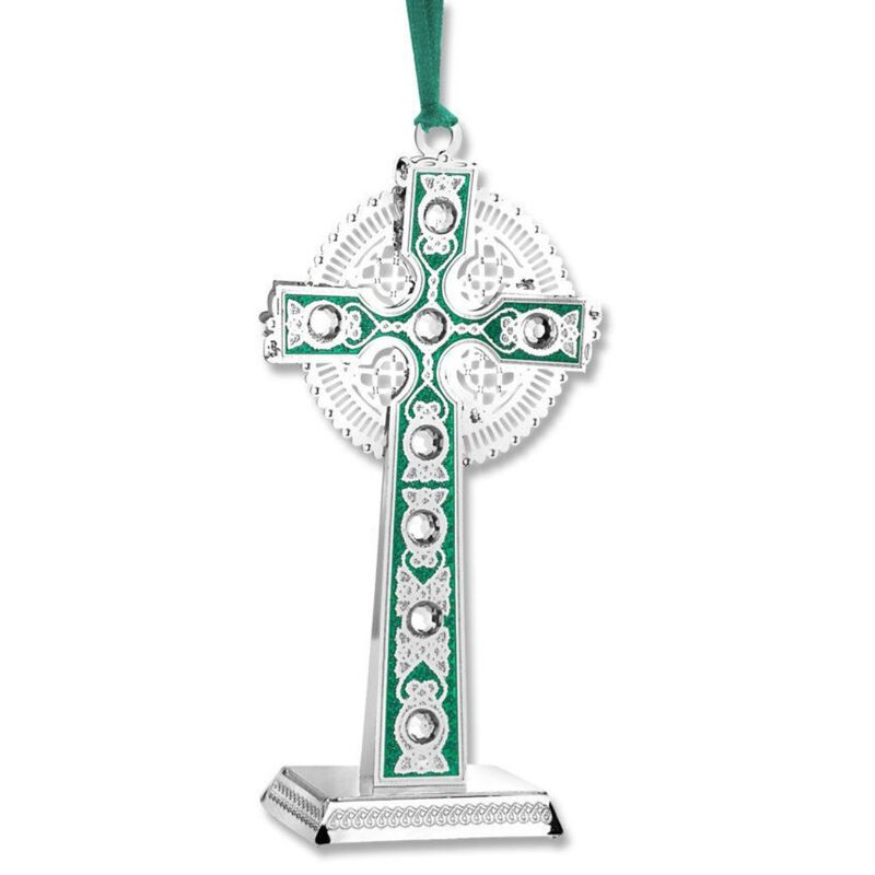 Newbridge Silverware Green and Silver Celtic Cross Hanging Ornament