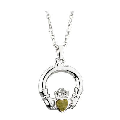 Rhodium Plated Claddagh Pendant With Heart Shape Green Connemara Marble