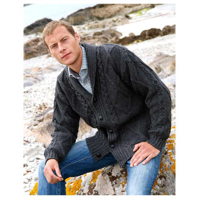 100% Merino Wool Aran Shawl Collar Grandfather Cardigan, Charcoal Colour